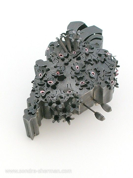 "Sondra Sherman:  'Corsage: Valeriana Officinalis' -  steel, nail polish (4""H x 2 3/4""W x 1""D) steel brooch from series 'Anthophobia : Fear of Flowers'"