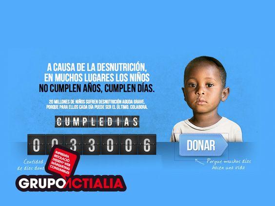 """Grupo Actialia Comunicación ha realizado una donación al proyecto de UNICEF """"Cumple Días"""". Aprovechamos de nuestra red social para dar a conocer este proyecto y por el cual pedimos de tu ayuda. Más información: http://www.cumpledias.com"""
