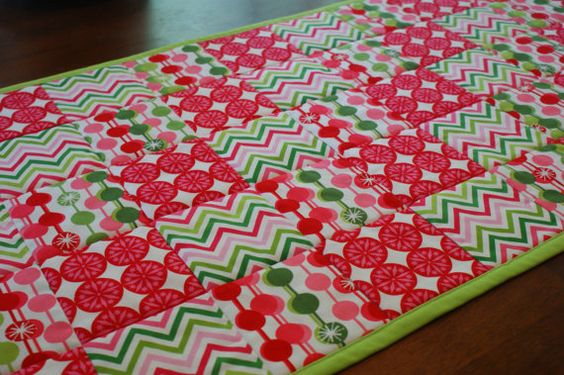 Lime Green and Pink Chevron Modern Graphic Non by LuluBelleQuilts, $30.00