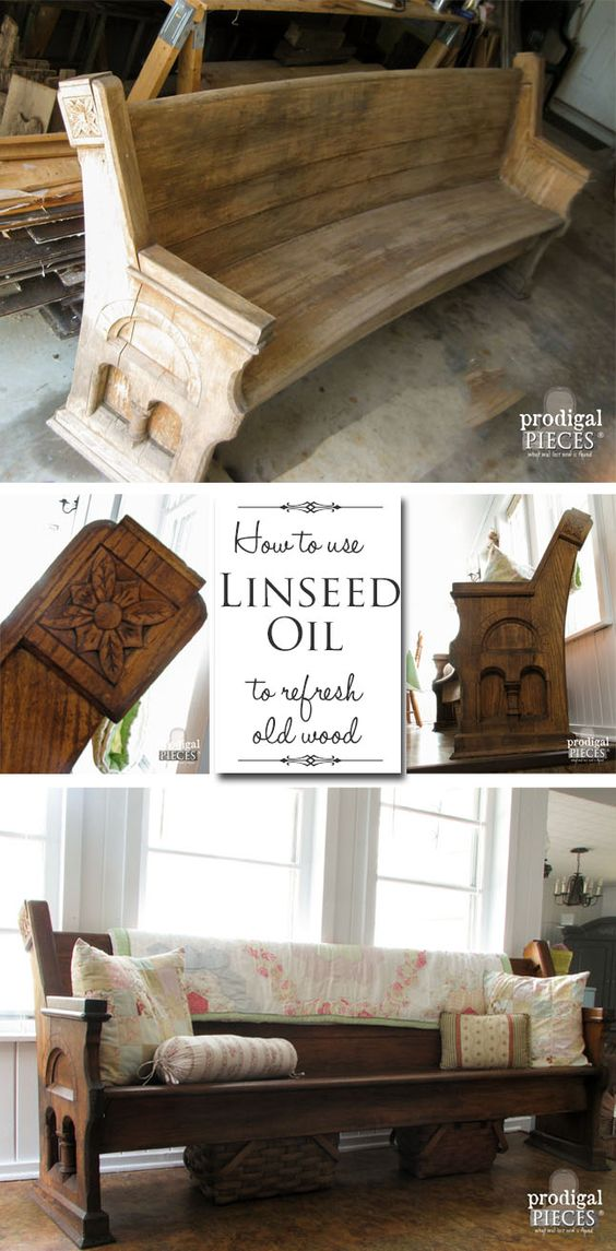 Hard to believe this antique pew had been face down in the mud for years.  Come see how easy it is revived with TLC and Linseed Oil. Refresh your old  wood.