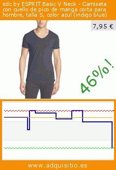 edc by ESPRIT Basic V Neck - Camiseta con cuello de pico de manga corta para hombre, talla S, color azul (indigo blue) (Ropa). Baja 46%! Precio actual 7,95 €, el precio anterior fue de 14,79 €. https://www.adquisitio.es/edc-by-esprit/camiseta-cuello-pico-19