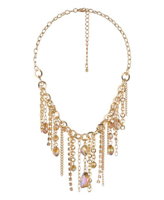 Iridescent Bead Fringe Necklace