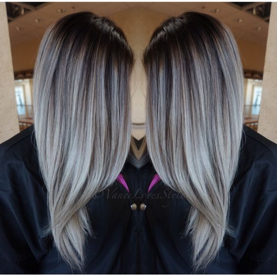 grey hair balayage my style pinterest gris balayage et cheveux. Black Bedroom Furniture Sets. Home Design Ideas