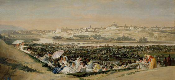 """Goya: """"La pradera de San Isidro"""". Espectaculares detalles de las vistas de esta pradera. Se aprecia el dominio del pincel."""