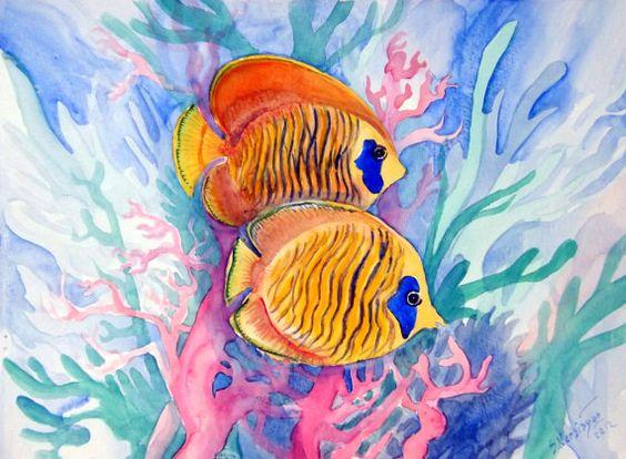 Coral fish original watercolor painting 9 X12 by OriginalArtOnly, $24.00