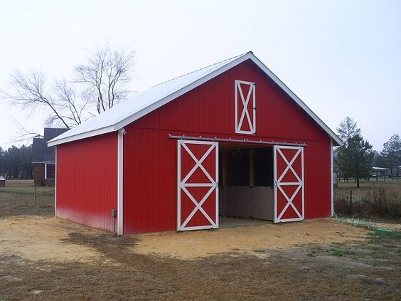 Red pole barn green roof google search barn ideas for Red metal barn