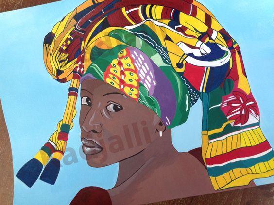 Peinture afrique africaine femme ethnique : Eméfa  image non libre de droit
