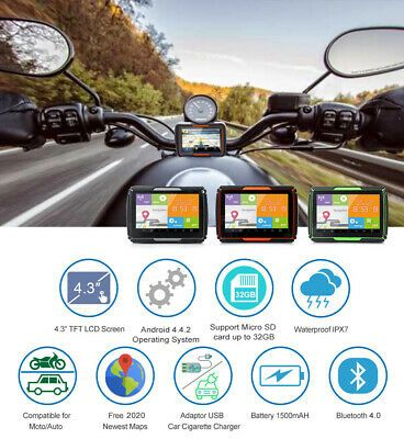 "4.3/"" Bluetooth Motorcycle GPS Tracker BT Car Navigation System 8GB SAT NAV Maps"