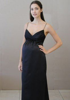 noirs en satin A-ligne de robes de soirée de maternité