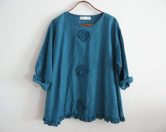 linen top blouse romance flare design in teal blue green with roses ready to ship
