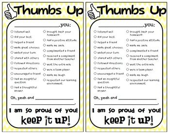 thumbs up positive reinforcement note note and positive