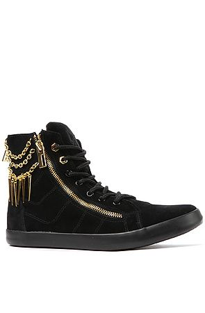 The Bond Hi Top Sneaker with Chain Spikes in Black and Gold - Sole La Vie  $42.98