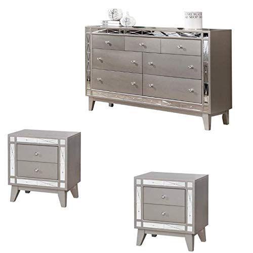 dresser nightstand set on Coaster Leighton 3pc Dresser And Set Of 2 Nightstands Set In Mirror Mirrored Bedroom Furniture Dresser As Nightstand Dresser Sets