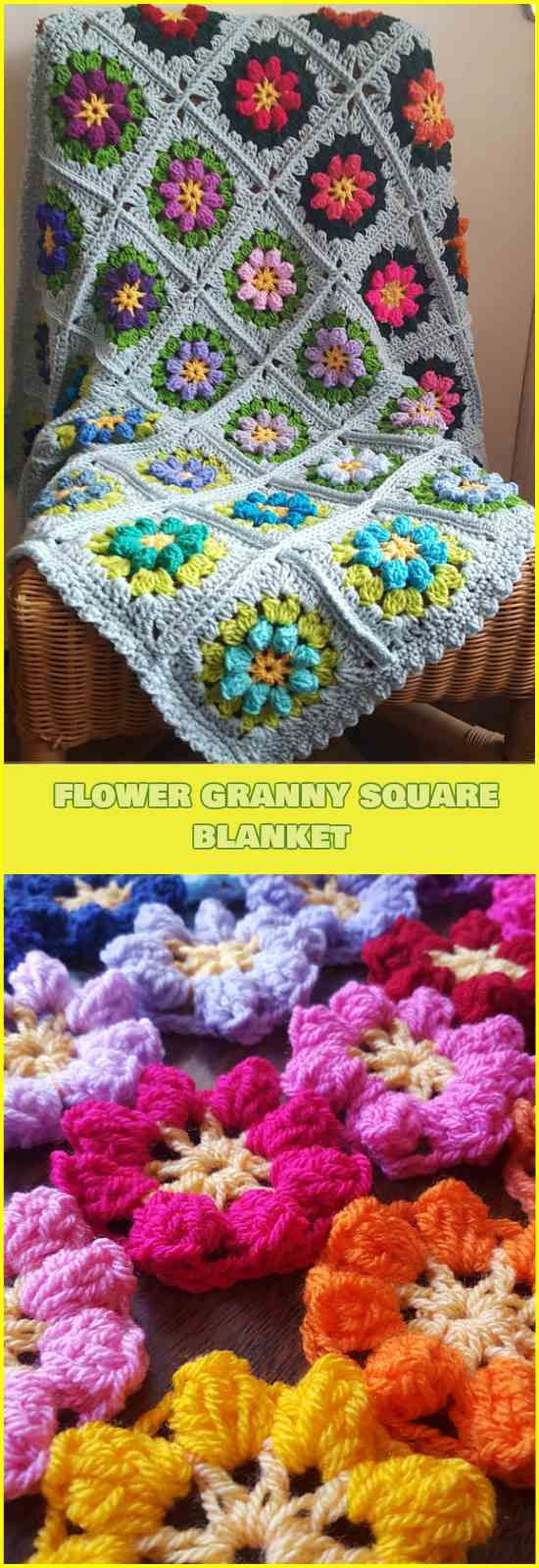 Primavera Flowers Granny Square Blanket [Free Crochet Pattern and Tutorial]