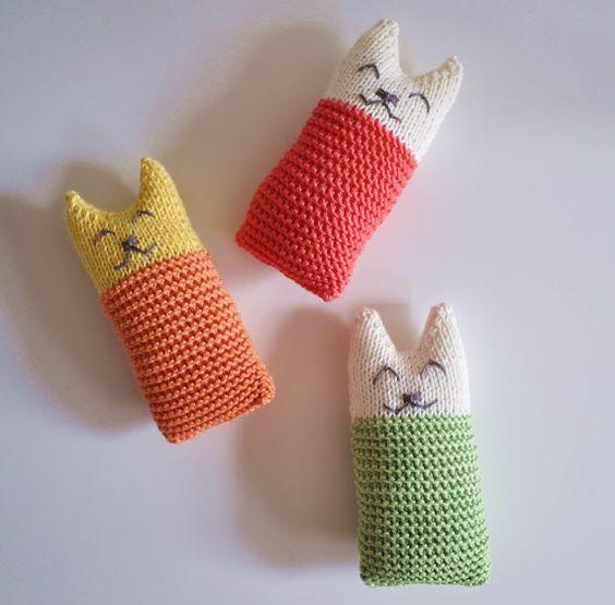 Cat soft toy Knit Cat Toy Handmade Baby toy nursery by SillySilz
