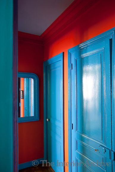 Jean Marc Palisse The Interior Archive Blue Room Paint Bright Walls Red Walls