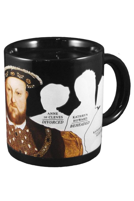 Henry VIII Disappearing Wives Mug - When you pour in any hot beverage, the poor wives vanish, leaving behind their outlines, names, and the manner in which they departed Henry's company.  Love this!