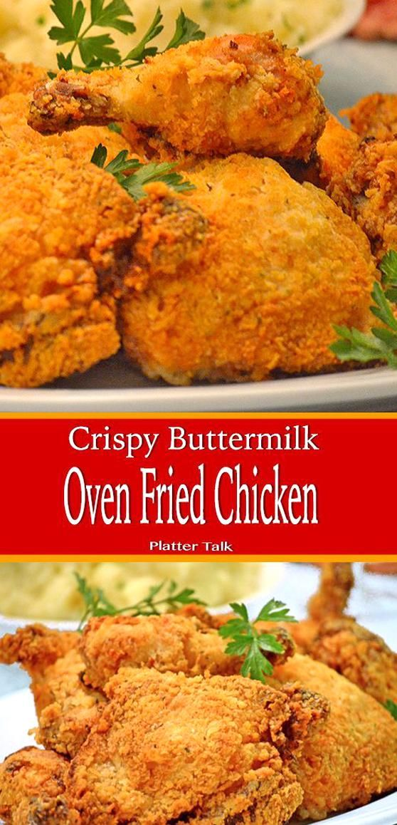 Oven Fried Buttermilk Chicken In 2020 Southern Baked Chicken Recipe Fried Chicken Thigh Recipes Fries In The Oven