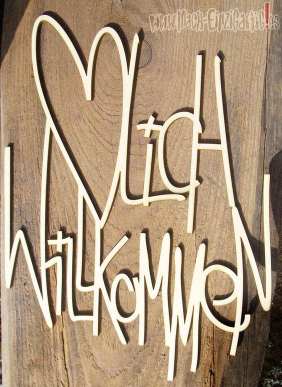 Buchstaben & Schriftzüge - Herzlich Willkommen aus Holz zum Bemalen - ein Designerstück von Mach-Einzigartiges