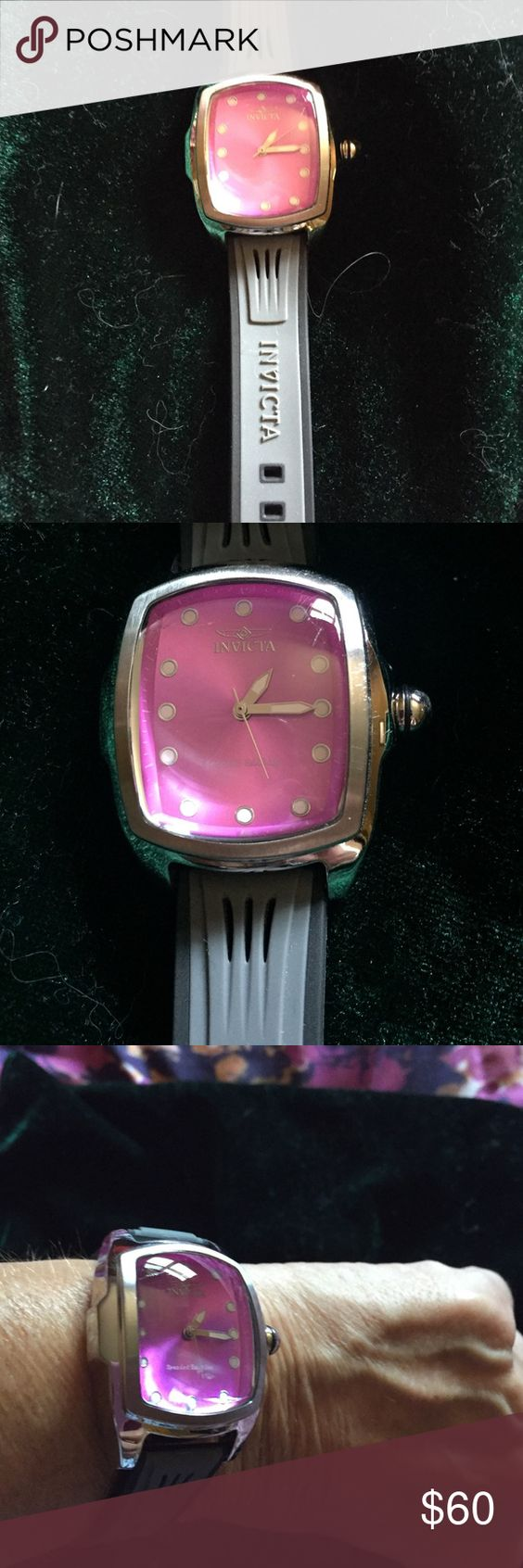 Invicta watch see Dimensions in Pic Black with pink face stylish watch NWOT but have box it came in. Invicta Accessories Watches
