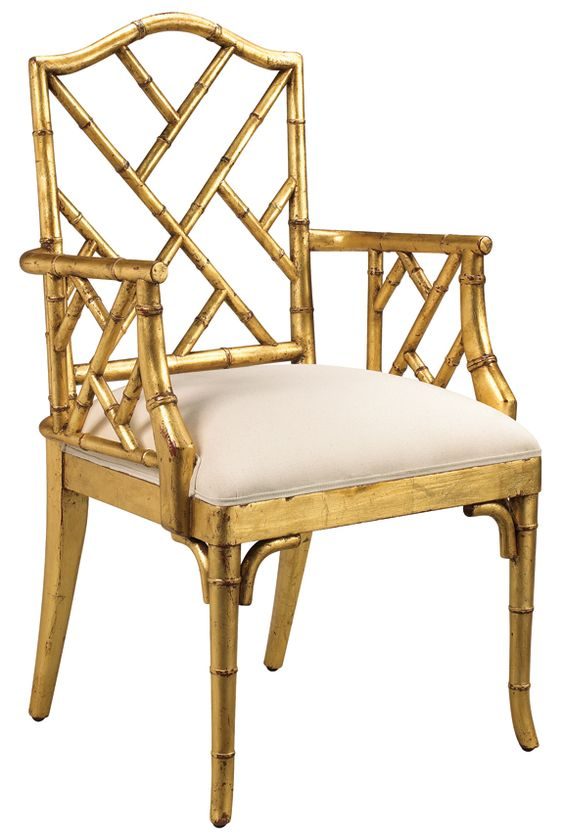 Gold Chippendale chair.