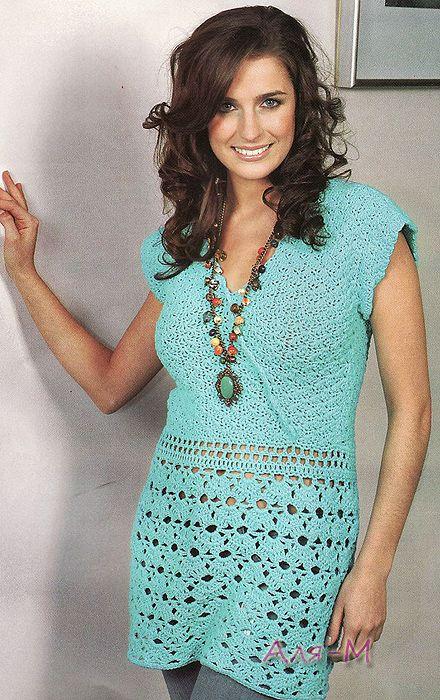 Crochetemoda: Tunica Verde de Crochet