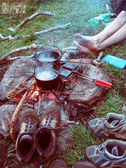 camping. pudgy pies. campfires.: