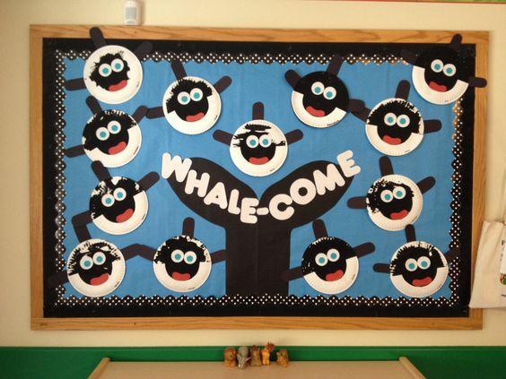 Whale Classroom Decor : Ocean theme bulletin board whale come classroom ideas