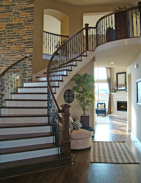 Best Love The Brick Wall Curved Stair Dream Home Ideas 400 x 300