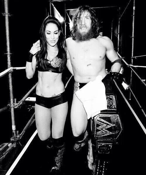 Daniel Bryan and Brie Bella after his big victory at Wrestlemania backstage