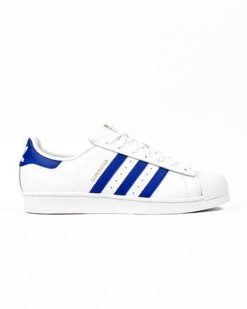 adidas Superstar Foundation white/blue Schuhe reduziert bzw. billiger im Streetwear Outlet Shop burner.de kaufen