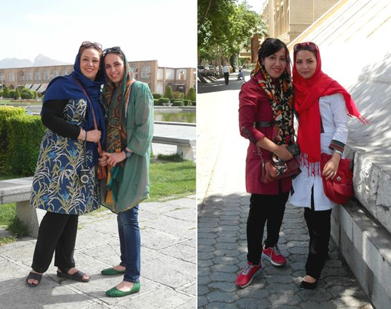Als Frau im Iran darf man auch mal Haare zeigen: Modische Frauen mit ihren bunten Hijabs