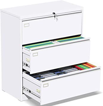 3 Drawer Lateral File Cabinet With Lock White Heavy Duty Metal Storage Printer Stand Anti Rust Large Filing Filing Cabinet Lateral File Cabinet Printer Stand What is a lateral file cabinet
