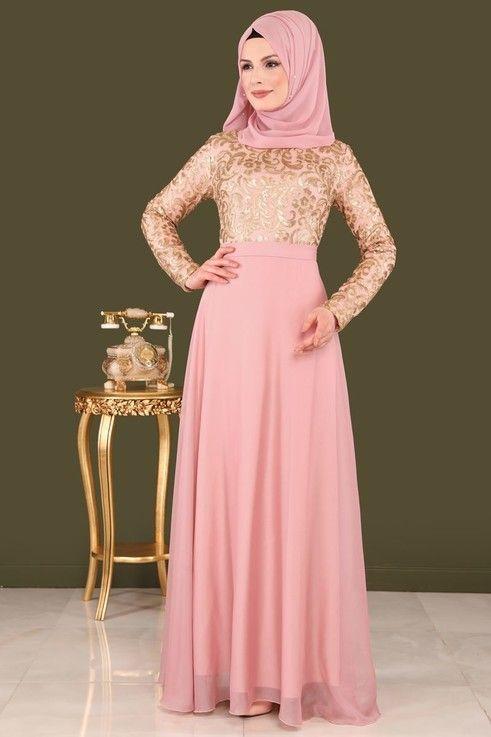 Abiye Payetli Tesettur Abiye Dmn8162 Pudra Formal Dresses Long Formal Dresses Dresses