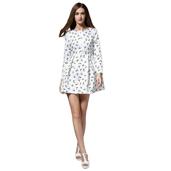 New Elegant Women Mini Dress Floral Print O Neck Long Sleeve Zipper Casual Slim A-Line Dress White - TOMTOP