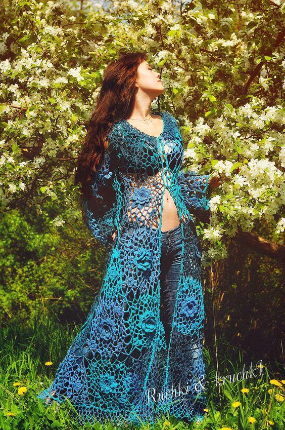Jacket Crochet Lace Roses Flowers Boho Gypsy A-line Long sleeves Wedding Bridal Turquoise Blue Teal Roses for Mermaid. $1,250.00, via Etsy.