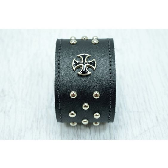 Black studded leather cuff for men with Maltese by MargaretVera ($25) via Polyvore