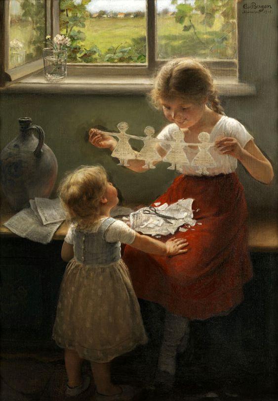 Carl Von Bergen - Zwei Mädchen Mit Einer Papiergirlande Spielend: