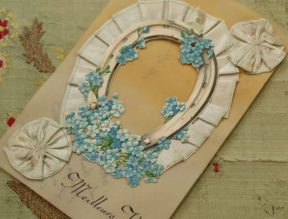 Antique French silk ribbonwork card forget me by duchesstrading