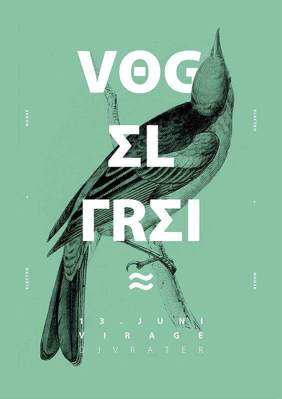 Vog el frei (love the bold type in contrast to the delicate line work + monochrome colours- great stuff)