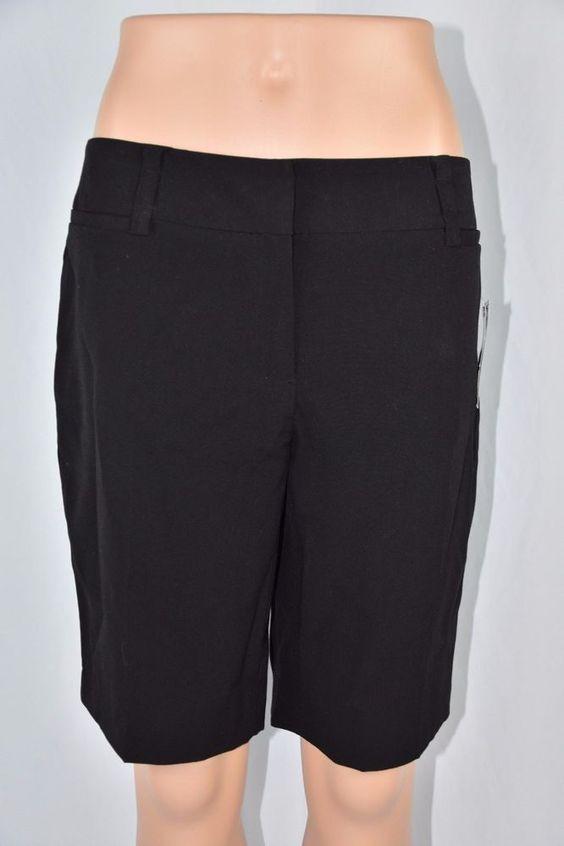 Details about AB Studio Womens 4 Solid Black Bermuda Dress Shorts ...