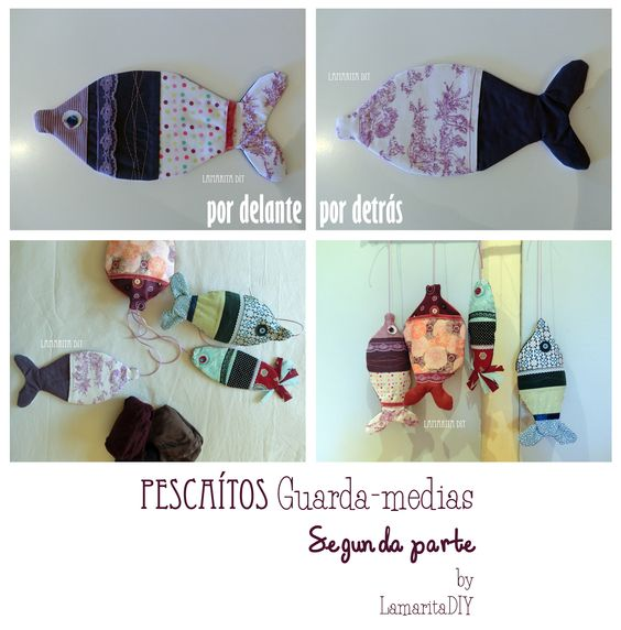 Little fishes: Storage Bag, tuto and free pattern. Pescaditos guarda- medias II: Tutorial