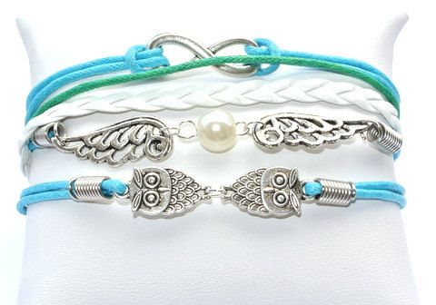 Angel Wings, Infinity Sign and Owl charm Leather Bracelet