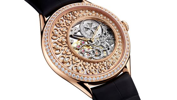 The Vacheron Constantin Métiers d'Art Fabuleux Ornements. About $147,600. The Ottoman-themed piece in gold lattice and pearls evokes some of the great export pocket watches that Swiss watchmakers once produced for the pashas of the Ottoman Empire.  Via The Robb Report (http://goo.gl/NDlQXl)