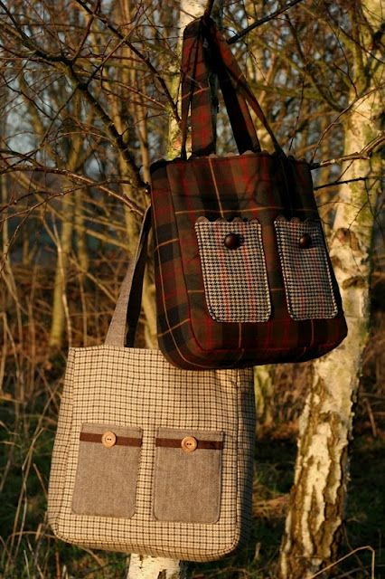 Tweed and tartan tote bags - no pattern but the pics are inspiring!