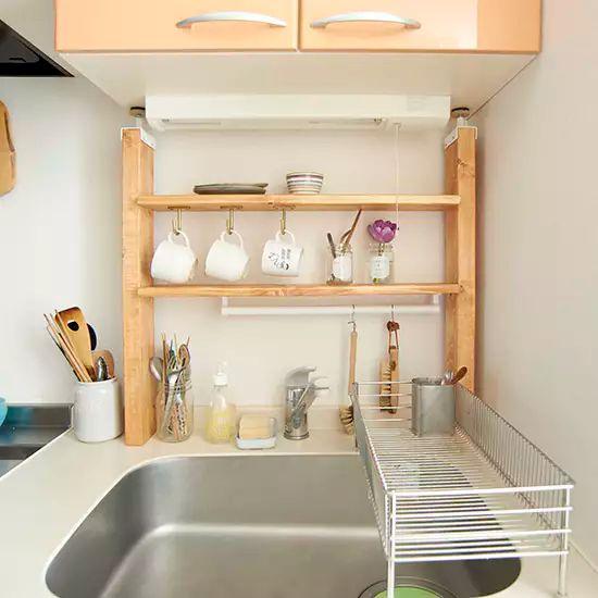 Diyに挑戦 収納力アップ 賃貸okな キッチン棚 の作り方 キッチン Diy 賃貸 狭いキッチン レイアウト キッチンレイアウト