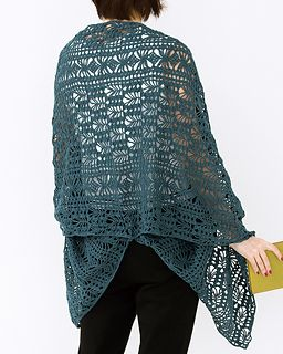 218s-08 Graceful Linen Shawl - free Japanese charted crochet pattern by Pierrot (Gosyo Co., Ltd)