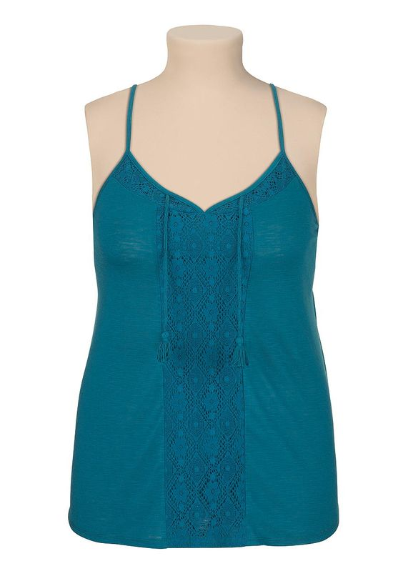 Lace panel racerback tank with tassels