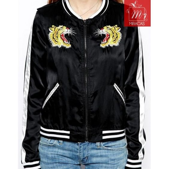 Casual Tiger Embroidered Baseball Jacket. | JACKETS AND BLAZERS ...