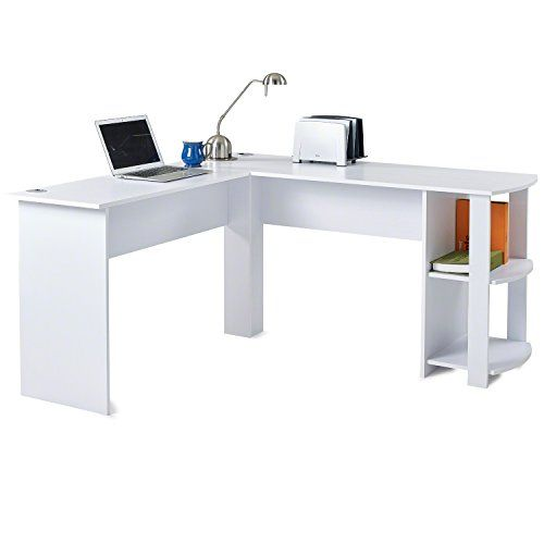 Laura James L Shaped Computer Office Desk Corner Pc Table With 2 Shelves For Home And Office O White Corner Computer Desk Computer Desks For Home Office Desk